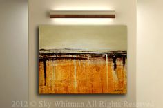 Large Limited Edition Canvas Giclee Fine Art Print Amber Cream and Coffee 24x30 by Sky Whitman