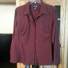 Burgundy long sleeved blouse Excellent condition, roomy for 22-24, nice length for jeans or dress pants. Lane Bryant Tops Blouses