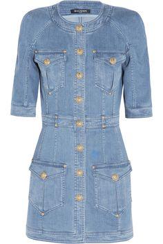 Balmain|Denim mini dress|NET-A-PORTER.COM