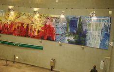Passagens - Ação Cultural do Metrô, Sao Paulo, 2007 Acrilico sobre tela - 9 paineis de 280x215 cm Cultural, Painting, Contemporary Art, Art Production, Dinner, Artists, Paintings, Painting Art, Painted Canvas