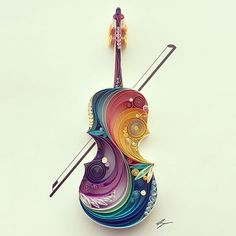 'La música es la voz del alma', pieza realizada con Quilling Paper o Papel filigrana