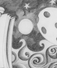 Evolution 108 - full moon over the ocean Ocean Drawing, Full Moon, Vignettes, Graphite, Evolution, Easter, Detail, Create, Drawings
