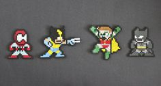 Spiderman, Wolverine, Batman and Robin perler bead sprites