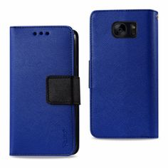 Reiko Samsung Galaxy S7 Edge Wallet Case 3 In 1-Navy With Interior Leather Polymer And Stand Function