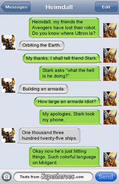 Texts from the Avengers.