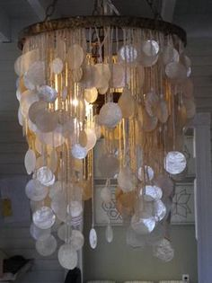 Small Shell Drop Chandelier with Beaded Detail 3 Lights Available in Silver and Gold Finishes Also Available As