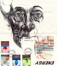 Bic Biro on 1970s envelope by mark powell bic biro drawings, via Flickr
