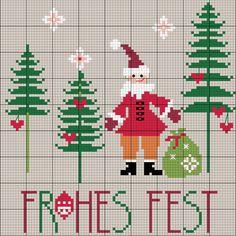 Nikolaus im Wald sticken - Entdecke hier dieses Motiv und zahlreiche weitere kostenlose Charts und Stickvorlagen zum Sticken.