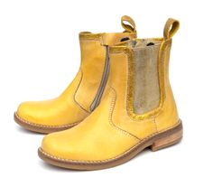 Yellow boots with gold elastic, LiLi shoes girls collection