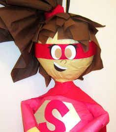 Custom Pink Super Girl Hero Pinata by PinataMama on Etsy, $60.00