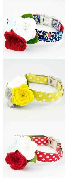Estos hermosos collares con flores para perro.