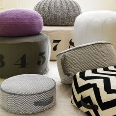 Adorned with big, bold numerals, our canvas Numbers Pouf is a comfy seat and a math lesson all in one.  Available in Natural or Grey. Details, details Canvas printed number pouf Lockable zipper Imported More colors availableShow 'em what you're made of Shell: 100% cotton Fill: 100% polysterene beadsCare instructions Spot clean only. Kids Floor Cushions, Floor Pillows, Kids Seating, Soft Seating, Custom Furniture, Kids Furniture, White Daybed, Chevron Floor, Glider And Ottoman