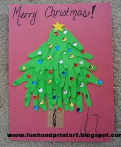 Handprint and Footprint Arts & Crafts: Foam Handprint Christmas Tree Craft