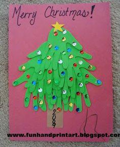 Handprint and Footprint Arts & Crafts: Foam Handprint Christmas Tree Craft