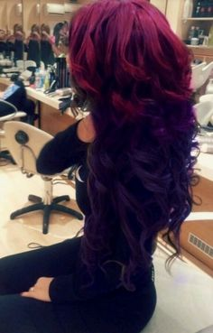 maroon-to-black ombre hair