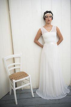 """bodenlanges Brautkleid """"Dotty Schneewittchen"""" von Ave evA auf DaWanda.com"""
