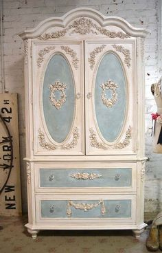 Painted Cottage Chic Shabby Romantic Bedroom Armoire / Wardrobe White
