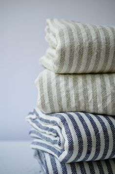 Image of striped linen throws