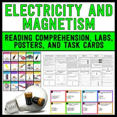 Electricity and Magnetism - This set contains 12 reading passages/activity sheets to help enhance your unit on magnetism and electricity. ***UPDATE*** Now includes task cards and posters.
