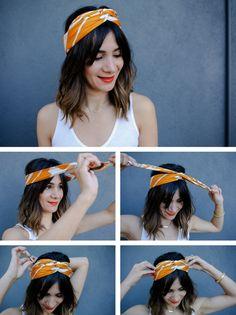exemple comment mettre une écharpe ou un foulard façon turban, coiffure de  cheveux avec accessoire 5a504027ee7