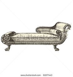 "Meridienne - Vintage engraved illustration - ""Le Mobilier"" Ed.Edouard Rouveyre  in 1915 France - stock vector"