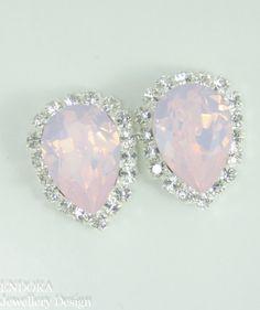 Pink opal Swarovski crystal earrings | Pink bridal jewelry | Pink Crystal bridesmaid earrings | #EndoraJewellery,