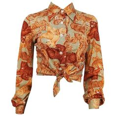 Preowned 1970s Big Cat Printed Button Up Crop Top ($150) ❤ liked on Polyvore featuring tops, blouses, brown, button down jersey, button up top, browns jersey, cat print top and cut-out crop tops