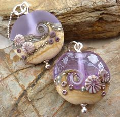 Frosted Beach focal bead in lavender ... handmade by LushLampwork, £20.00