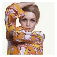 Superstar model Twiggy was photographed wearing a bright flower-print dress by Michèle Rosier, with Max Factor makeup outlining her large doe eyes. The iconic '60s fashion image, shot by staff photographer Bert Stern, appeared in the March 1, 1967, Vogue.