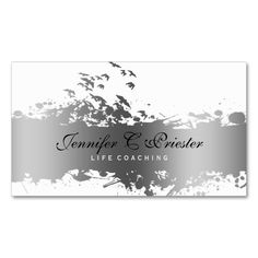 White and Grunge Silver Stripe and Flying Birds Double-Sided Standard Business Cards (Pack Of 100). Make your own business card with this great design. All you need is to add your info to this template. Click the image to try it out!