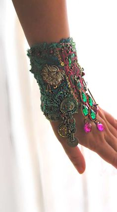 Tranquility Gypsy Jangle Bracelet, Vintage, Antique, Elements, Pink, Kuchi, Gypsy, Cuff. $195.00, via Etsy.