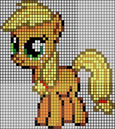 Patron / Pattern : My Little Pony - Applejack en Perle HAMA (Mini)    Taille de la grille 43 x 45 (soit environ  10,75 x 11,25 cm)    Nombre de perles totales : 971 (sans le fond, que le petit poney)
