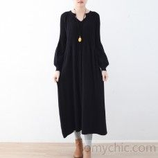 stylish black wool knit dress oversized v neck pullover top quality pullover