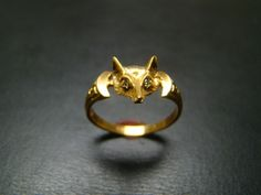 14K gold Fox ring with diamond eyes by Xidni on Etsy. $250.00 USD, via Etsy.