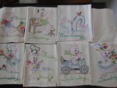 SOLD Pink Pigs Days of Week Dish Towels handmade in Missouri, USA $59.95