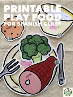 Printable Play Food for Spanish class ALL LEVELS! Great for imaginative play, food themes & units, preferences with me gusta, categorizing, and more! Ever-growing set of foods and drinks! Mundo de Pepita, Resources for Teaching Spanish to Children