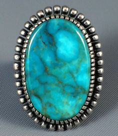 21g Old Stock Navajo Kirk Smith Sterling Silver Spiderweb Turquoise Ring