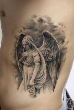 realistic tattoo angel motifs for men