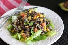 Spicy Black Bean Guacamole Salad