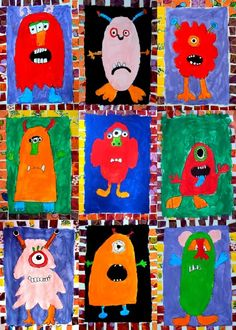 These kids friendly finger painting art ideas will make kids throw away all the brushes. Halloween Art Projects, Theme Halloween, Fall Art Projects, Finger Paint Art, Finger Painting, Painting Art, Monster Art, Monster Crafts, Art Plastique Halloween