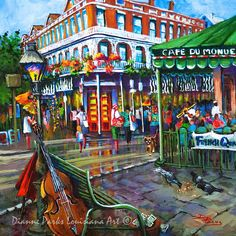 Cafe du Monde, Jackson Square, FREE SHIPPING, New Orleans Art, French Quarter, New Orleans Louisiana Painting,NOLA Art, New Orleans Print