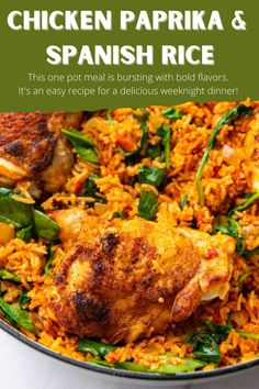 Chicken Paprika & Spanish Rice is an easy and flavorful meal. A perfect weeknight dinner recipe. This one pot meal is bursting with warm bold flavors. It's a delicious end to a busy day! #bakedpaprikachicken #chickenpaprikandrice #easydinnerrecipes #easydinnerideas #weeknightdinnerrecipes #dinnerrecipes #spanishricerecipes #paprikachicken #chickendinners #bestchickenrecipes #chickenthighrecipes #bakedchickenrecipes #onepotdinners #onepotmeals #chickenandrice #comfortfood #comfortfoodrecipes