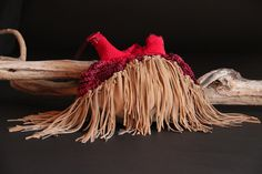 leather fringed beaded purse by SuSu