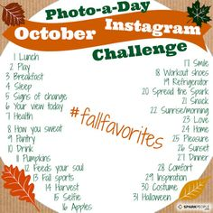 Don't fall off the healthy living wagon this fall!   Join SparkPeople's Photo-a-Day Challenge in October