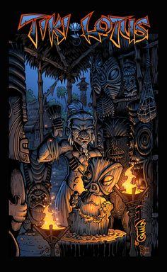 A Kung Fu Fantasy adventure in a mythical polynesian island setting Tiki Hawaii, Hawaiian Tiki, Wiki Tiki, Tiki Decor, Pirate Decor, Tiki Man, Tiki Tattoo, Tiki Totem, Tiki Lounge