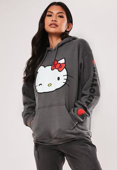 a long sleeve hoodie featuring hello kitty graphic print at the front. regular fit Long Length - Covers the bum Polyester Cotton Pilar wears a UK size S / EU size S / US size S and her height is Hello Kitty Hoodie, Hello Kitty Clothes, Grey Hoodie, Sweater Hoodie, Hello Kitty Collection, Quirky Fashion, Nike Outfits, Halloween Shirt, Missguided