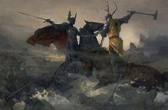 Encuentro de Rhaegar Targaryen y lord Robert Baratheon en el vado Rubí durante la batalla d Tridente (The World of Ice and Fire).