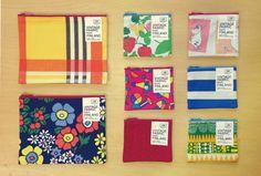 ヴィンテージ生地を使ったポーチや久留米織りと組み合わせたオリジナル商品。<取扱|LIFE AND BOOKS> Finland, Marketing, Lifestyle, Fabric, Books, Vintage, Tejido, Tela, Libros