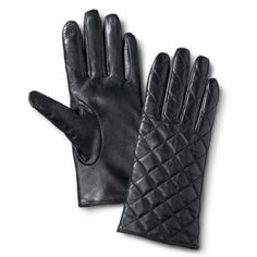 Women's Quilted Leather Gloves - Black