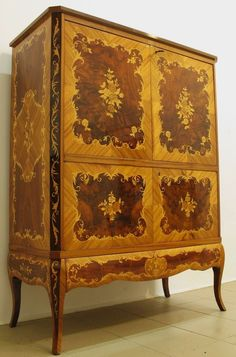 Louis XV Style Marquetry Inlaid Mahogany Tallcased Storage Cabinet